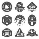 La cerveza del alcohol etiqueta la colección de las insignias Foto de archivo libre de regalías