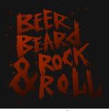 La cerveza, la barba y la roca del cartel del vintage ruedan - las letras dibujadas mano única Fotografía de archivo libre de regalías