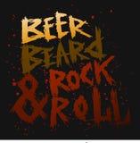 La cerveza, la barba y la roca del cartel del vintage ruedan - las letras dibujadas mano única Imagen de archivo