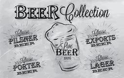 La cerveza nombra la colección. Carbón. Imagenes de archivo