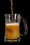 La cerveza vertió en la taza de cristal Fotografía de archivo