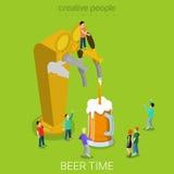 La cerveza vierte el vector isométrico plano de cristal de colada 3d de la máquina Fotografía de archivo libre de regalías
