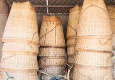 La cesta de bambú Imagen de archivo libre de regalías