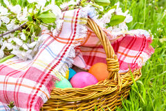 La cesta de mimbre con los huevos de Pascua se cierra para arriba Foto de archivo libre de regalías