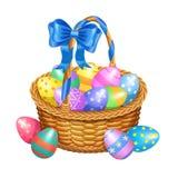 La cesta de Pascua con color pintó los huevos de Pascua aislados en blanco ilustración del vector