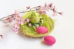 La cesta decorativa llenó de los huevos del verde de hierba de las flores y de los huevos rosados Fotografía de archivo