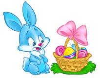 La cesta feliz del conejito de pascua eggs el ejemplo de la historieta Fotografía de archivo
