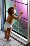 La chéri dans la couche-culotte regarde à l'extérieur la porte grillagée photographie stock libre de droits