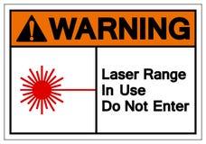 La chaîne de avertissement de laser en service n'écrivent pas le signe de symbole, l'illustration de vecteur, isolat sur le label illustration stock