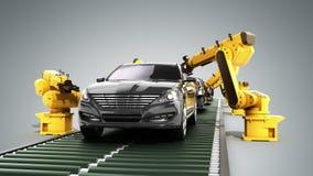 La chaîne de montage de robot dans l'usine 3d de voiture rendent sur le gris Images stock