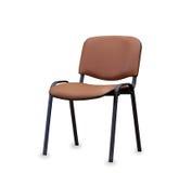 La chaise de bureau du cuir brun D'isolement Photo stock