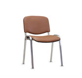 La chaise de bureau du cuir brun D'isolement Photos libres de droits