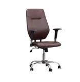 La chaise de bureau du cuir brun D'isolement Photographie stock