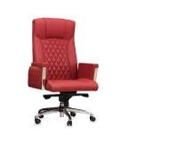 La chaise de bureau du cuir rouge D'isolement Photo libre de droits