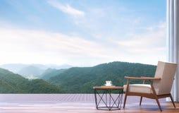 La chaise paresseuse avec le Mountain View 3d rendent Photos stock