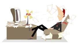 La chaleur dans le bureau, l'homme, la fan et le journal parti volant Photographie stock libre de droits