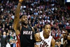 La chaleur de Miami contre des rapaces de Toronto Images libres de droits
