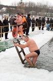 La chaleur du nageur de glace Photographie stock