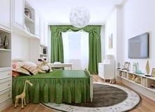 La chambre à coucher des enfants dans un style classique Images libres de droits