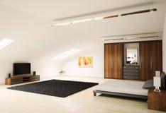 La chambre à coucher moderne 3d intérieur rendent Photos libres de droits