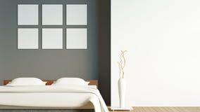 La chambre à coucher moderne de grenier avec l'affiche vide/3d rendent l'image Photographie stock libre de droits