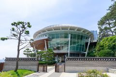 La Chambre d'APEC de Nurimaru placent sur l'île de Haeundae Dongbaekseom à Busan, Corée du Sud Photos stock