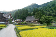 La Chambre de style Gassho de Gassho Zukuri Shirakawa-vont dedans Images libres de droits