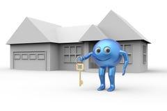 La Chambre et la boule 3d forment le symbole souriant avec la clé Images stock