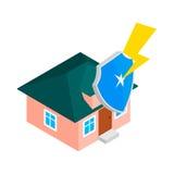 La Chambre se protègent par l'icône de bouclier, le style 3d isométrique Photographie stock libre de droits