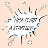 La chance des textes d'écriture de Word n'est pas une stratégie Le concept d'affaires pour lui n'est pas chanceux une fois prévu  illustration de vecteur