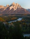 La chaîne de Teton d'Ansel Adams donnent sur Photo stock