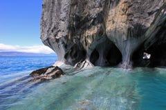 La chapelle de marbre de cathédrale, Capillas De Marmol, Puerto Tranquilo, Chili image stock