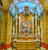 La chapelle du Langue de l'Italie, la Co-cathédrale de St John à La Valette, Malte photos libres de droits
