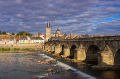 La Charite-sur-Loire in Burgundy, town and river Loire Royalty Free Stock Photo