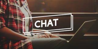 La charla comunica la comunicación en línea conecta concepto foto de archivo libre de regalías