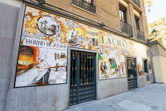 La Chat restaurant painted facade on a spring day in Madrid Royalty Free Stock Photos