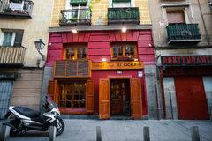 La Chat restaurant painted facade on a spring day in Madrid Royalty Free Stock Photo