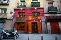 La-Chatrestaurant malte Fassade an einem Frühlingstag in Madrid Lizenzfreies Stockfoto