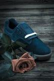 La chaussure de l'homme bleu-foncé et s'est levée Photographie stock