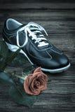La chaussure de l'homme de couleur et s'est levée Photo stock