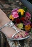 La chaussure de la demoiselle d'honneur Photographie stock libre de droits