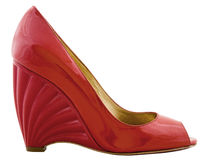 La chaussure de la gentille femme rouge. Image stock