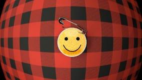 La chemise de flanelle et le tissu de smiley badge, se ferment  illustration de vecteur
