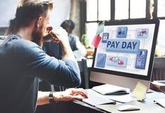 La cheque de la renta del sueldo del día de cobro emprende concepto de los pagos Fotos de archivo libres de regalías