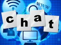 La chiacchierata di chiacchierata rappresenta il telefono che scrive e comunica Fotografie Stock Libere da Diritti