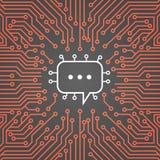 La chiacchierata trabocca l'insegna di concetto di sistema dati della rete di Chip Moterboard Background Social Media del compute Fotografia Stock