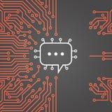 La chiacchierata trabocca l'insegna di concetto di sistema dati della rete di Chip Moterboard Background Social Media del compute Immagini Stock