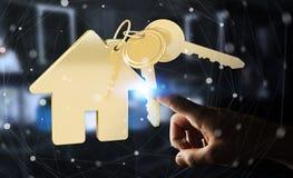 La chiave commovente dell'uomo d'affari con l'anello portachiavi della casa in suo dito 3D ren Fotografia Stock Libera da Diritti