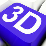 la chiave 3d mostra tridimensionale o le dimensioni Fotografia Stock Libera da Diritti