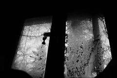 La chiave dalla finestra congelata fotografia stock libera da diritti